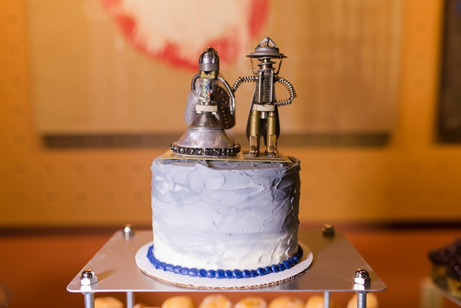 How cute are these cake toppers handmade by the couple's family!
