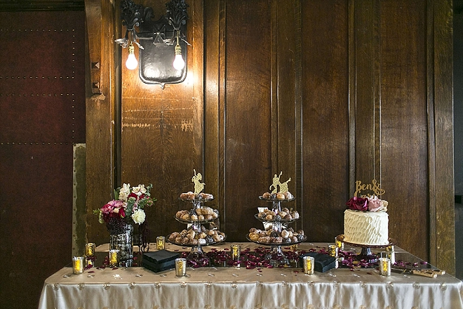 Stunning dessert table at this glittery reception!