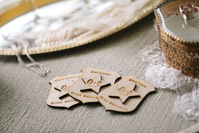 This Bride handmade these adorable ring bearer badges herself and we love them!