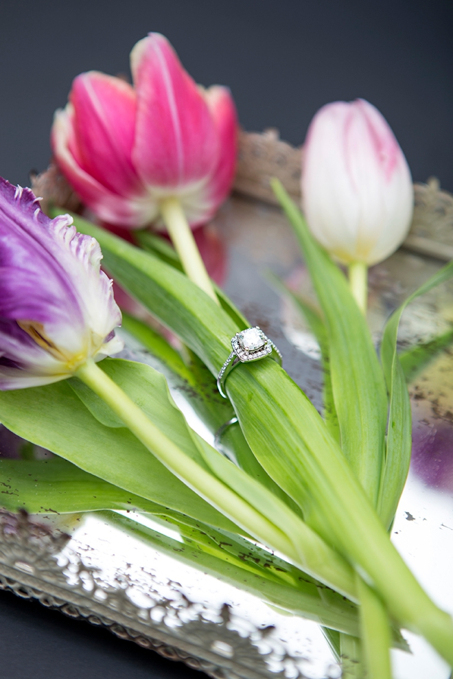 What a stunning wedding ring shot on a tulip!