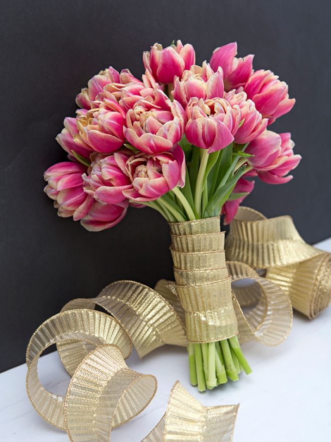 Stunning, DIY all tulip wedding bouquet using flowers from Fifty Flowers!