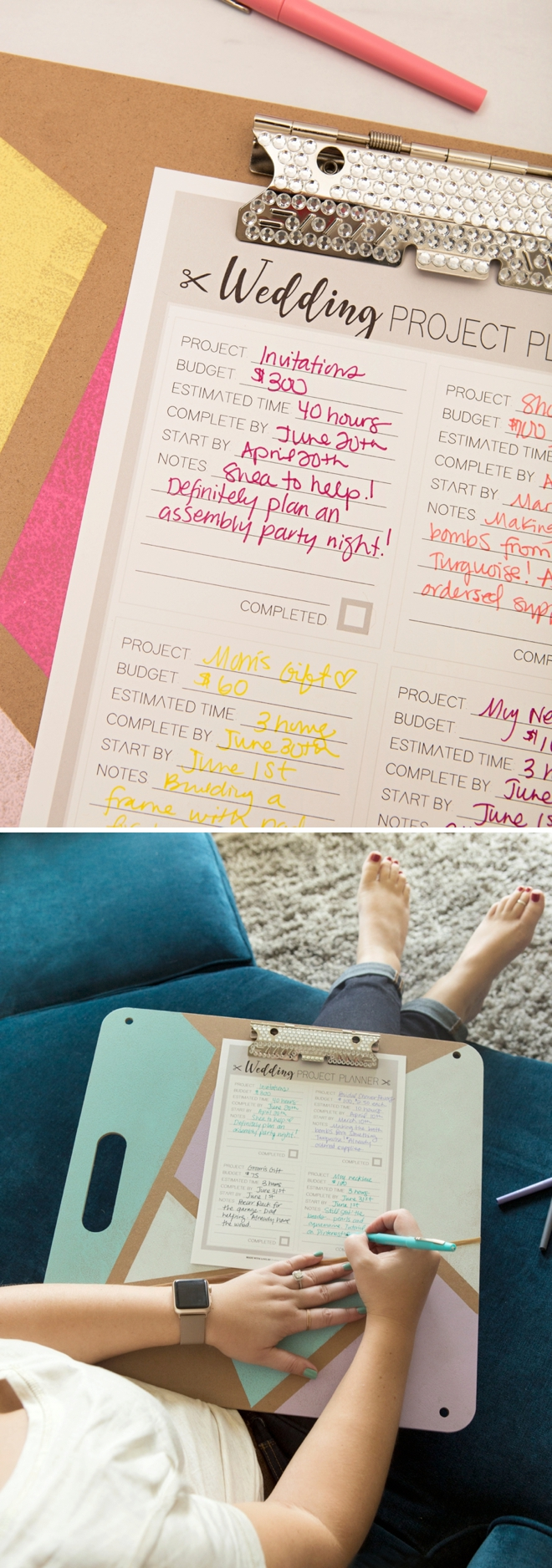 Adorable giant wedding planning clipboard