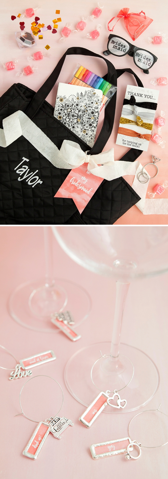 Adorable DIY bridesmaid gift bags with DIY wine charms!