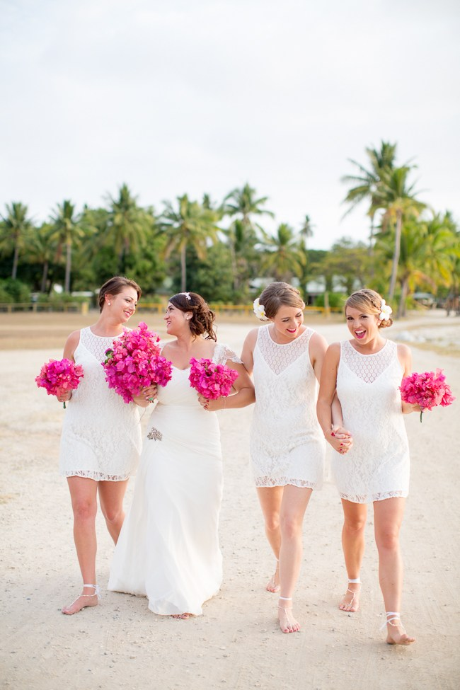 We LOVE these all pink bouquets at this wedding!