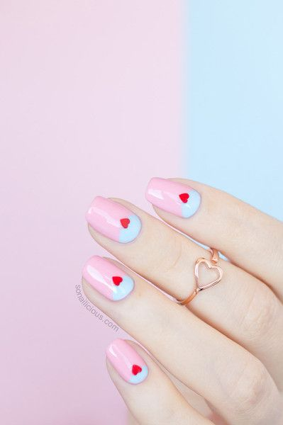 How darling is this Valentines Day inspired manicure!