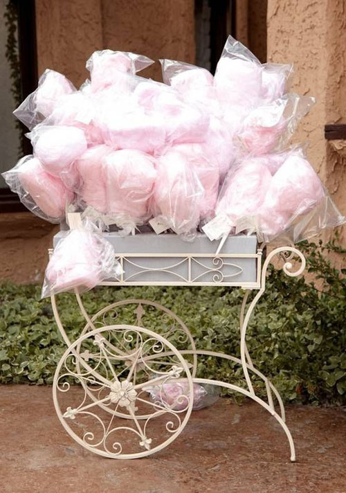 Cotton candy is delicious and makes the perfect blush pink wedding favor!