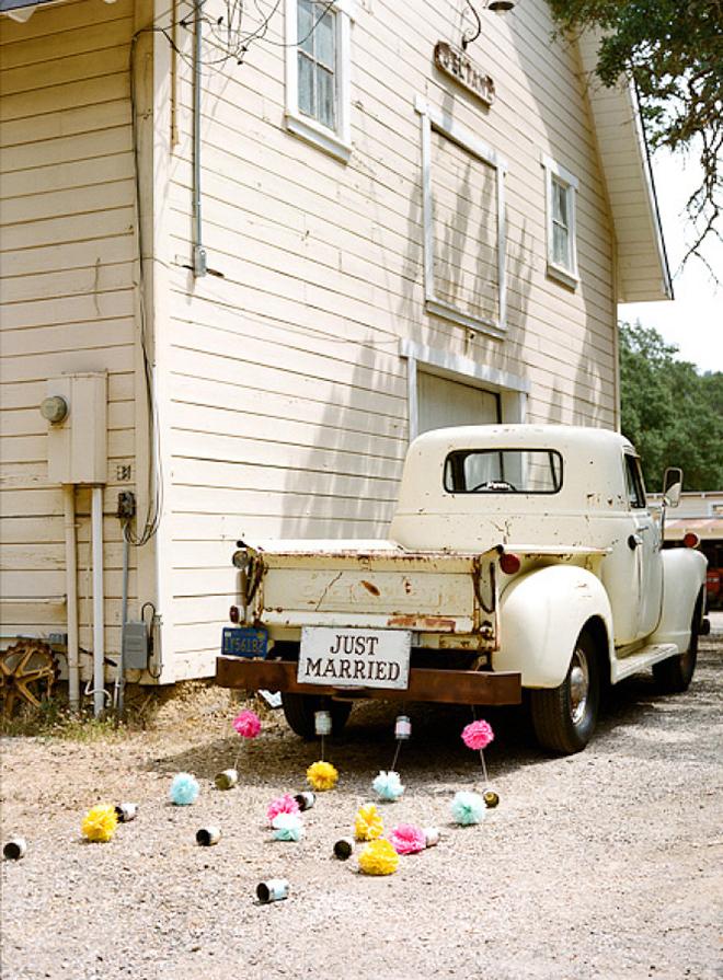 Pom poms make an easy DIY getaway car project
