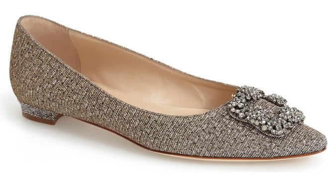 Love the glitter buckle and pointed toe of these flats!