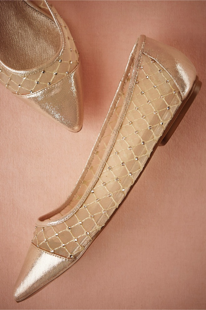 Leather, mesh, and crystal flats?! YES PLEASE.