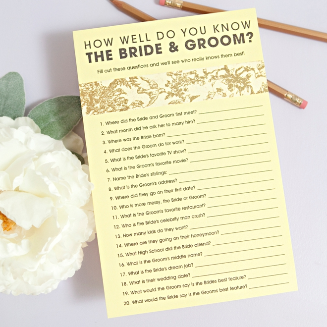 It is a photo of Soft How Well Do You Know the Bride Free Printable