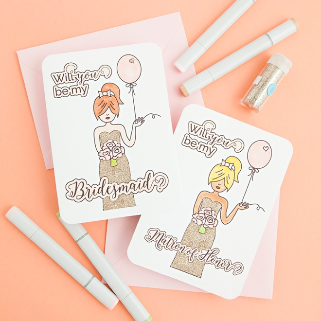 Free Printable Will You Be My Bridesmaid Coloring Cards