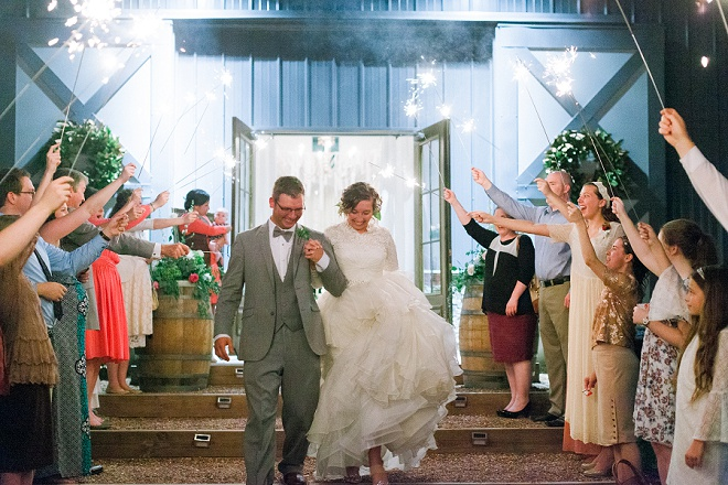 Swooning over this gorgeous sparkler exit at this boho wedding!