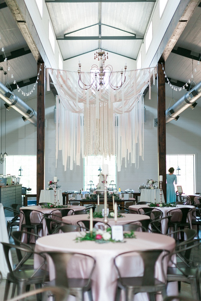 Swooning over this gorgeous reception and the amazing ribbon chandelier!