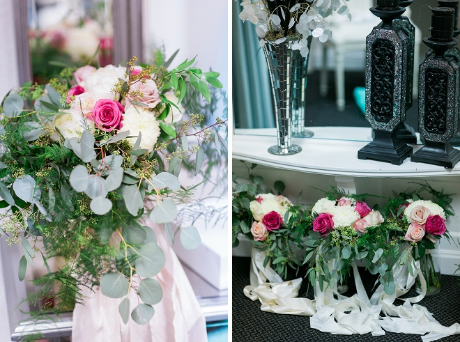 LOVING these dreamy boho chic bouquets with ribbon!