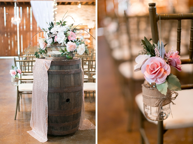 We're in LOVE with all of the rustic details and DIY'd flowers at this stunning day!